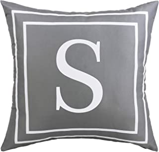 Fascidorm Gray Pillow Cover English Alphabet S Throw Pillow Case Modern Cushion Cover Square Pillowcase Decoration for Sofa Bed Chair Car 18 x 18 Inch