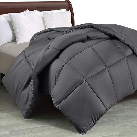 Utopia Bedding Piumone Piumino Una Piazza e Mezza - 100% Microfibra in Fibra Cava - (Grigio, 200 x 200 cm)