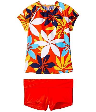 Hobie Kids Bloomy Daze Rashguard Fold-Over Shorts Set (Big Kids) (Multi) Girl