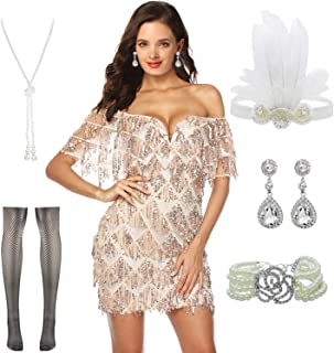 Women Halter V-Neck Sequins Tassel 1920s Flapper Inspired Party Dance Dress with 20s Gatsby Accessories Set