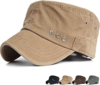 Mens Womens Short Bill Cadet Cap Mesh Vent Army Military Hat Washed Cotton Flat Top Caps for Driving