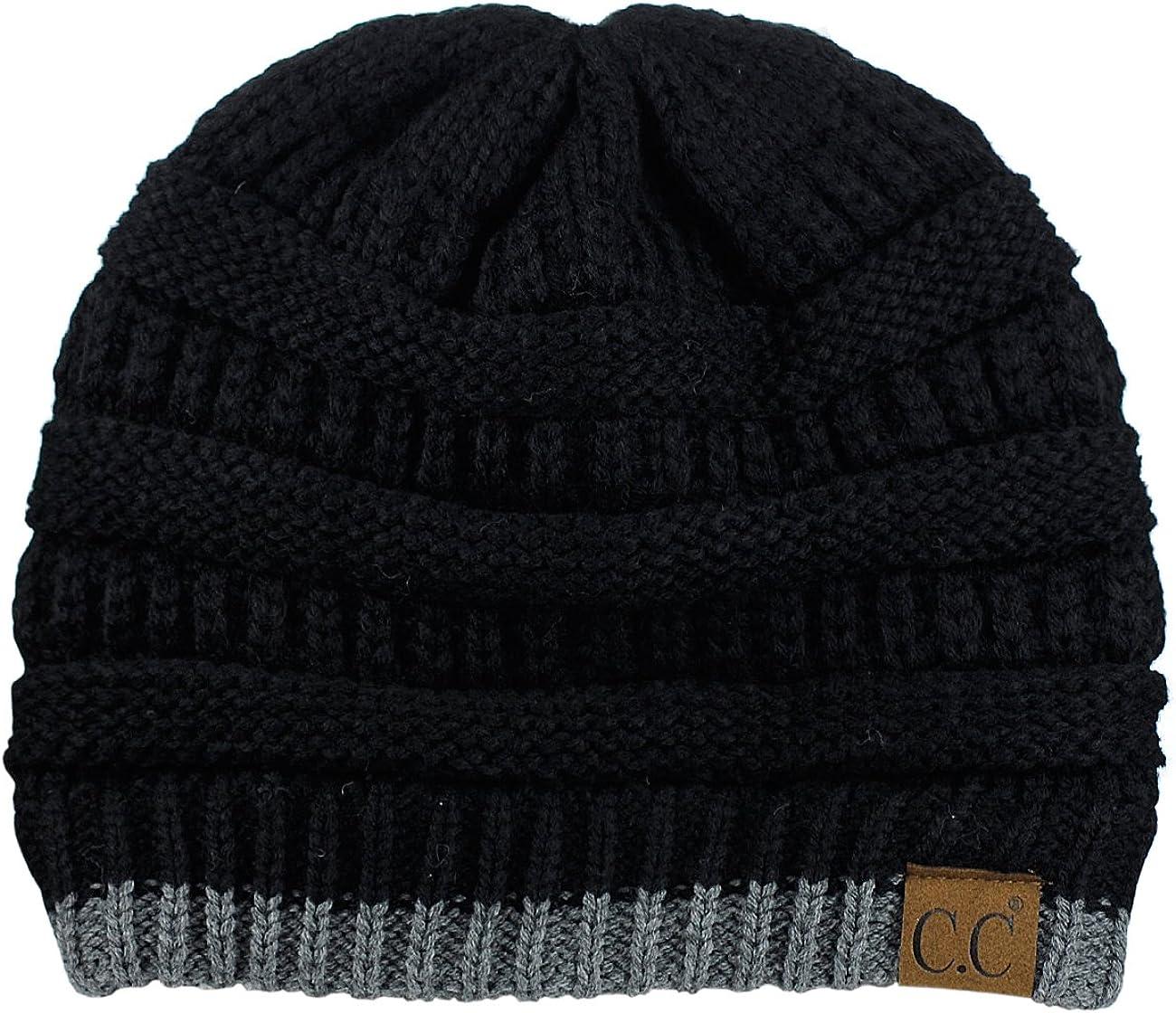 C.C Trendy Warm Chunky Soft Stretch Cable Knit Beanie Skully, Black/Dk Mel Gray