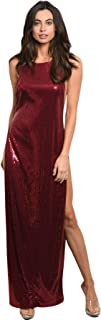 Imaginary Diva Sexy Burgundy Red Sequins Double Side Slits Long Gown Formal Party Cocktail Dress