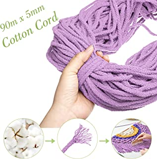 GEMITTO 5mm 98YD 8 Strands Twisted Macrame Cord, Natural Cotton Rope, Craft Knitting Braid Thread for Wall Background Hanging Decor, Plant Hanger String, Garden Flower Pot Holder (Light Purple)