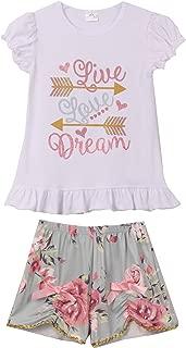 Little Girls - Conjunto de 2 piezas de pantalones cortos con diseño de flecha y flores, para niños