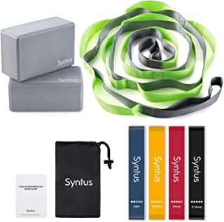 Syntus 9-in-1 Yoga Set, 1 Yoga Strap with 12 Loops, 2 EVA Foam Soft Non-Slip Yoga Blocks 9×6×4 inches,4 Resistance Bands w...