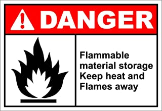 Flammable Material Storage Danger OSHA ANSI Label Decal Sticker 7 inches x 5 inches