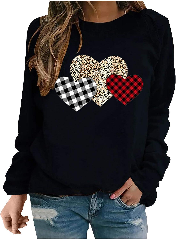 Max 88% OFF Eoailr Women Rapid rise Casual Crew Neck Heart Print Sweatshirts Sleev Long
