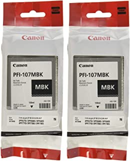 Canon PFI-107MBK Ink Cartridge Matte Black - 2 Packs in Retail Packing