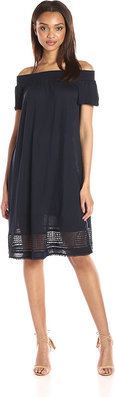 A X Armani Exchange Womens Off The Shoulder Eyelet Knee Length Dress Dress