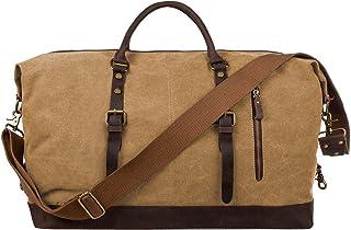 S-ZONE Reisetasche 52-55L Vintage Canvas Crazy Horse Leder Trim Unisex Handgepäck Weekender Tasche Sporttasche für Reise Wochenende Urlaub