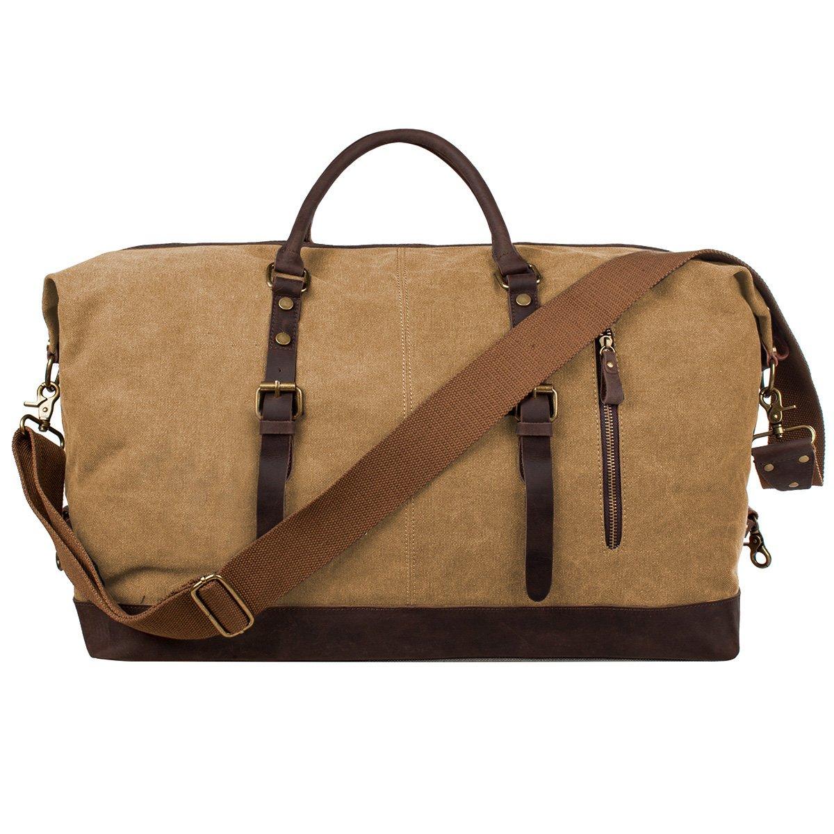 Oversized Travel Duffel Bag Waterproof Canvas Genuine Leather Weekend bag Weekender Overnight Carryon Hand Bag,Khaki