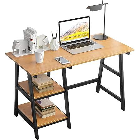 SogesPower Bureau pour ordinateur de bureau, bureau d'étude, bureau d'ordinateur portable avec cadre en acier et 2 étagères pour beaucoup d'espace de rangement, 120 x 60 x 75 cm, chêne