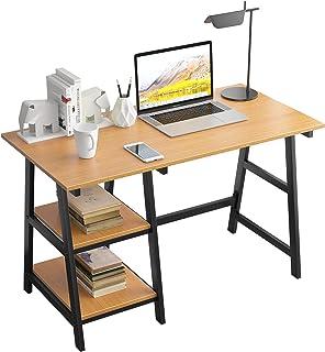 SogesPower Bureau pour ordinateur de bureau, bureau d'étude, bureau d'ordinateur portable avec cadre en acier et 2 étagère...
