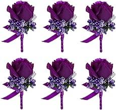 JaosWish 6PCS Flower Men Boutonniere Handmade Silk Men Corsage for Groom Wedding Party Suits Purple