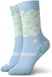 tyui7, Hermosas flores blancas azules claras Calcetines de compresión antideslizantes Calcetines deportivos acogedores de 30 cm para hombres, mujeres, niños
