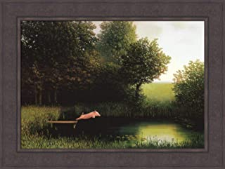Home Cabin Decor Diving Pig by Michael Sowa 24x33 Kohler`s When Pigs Fly Humorous Fantasy Framed Print Art Picture