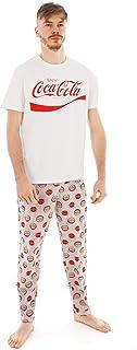Coca Cola Men's Pyjamas Set   Adults Bottle Logo White T-Shirt & Grey PJ Trouser Bottoms   Coca Cola Merchandise Gifts   S...