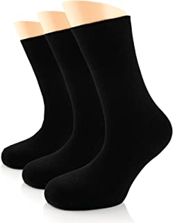 Women's Bamboo Dress Socks, Seamless, Crew, Size: 6-9 & 9-12 (3 Pairs)