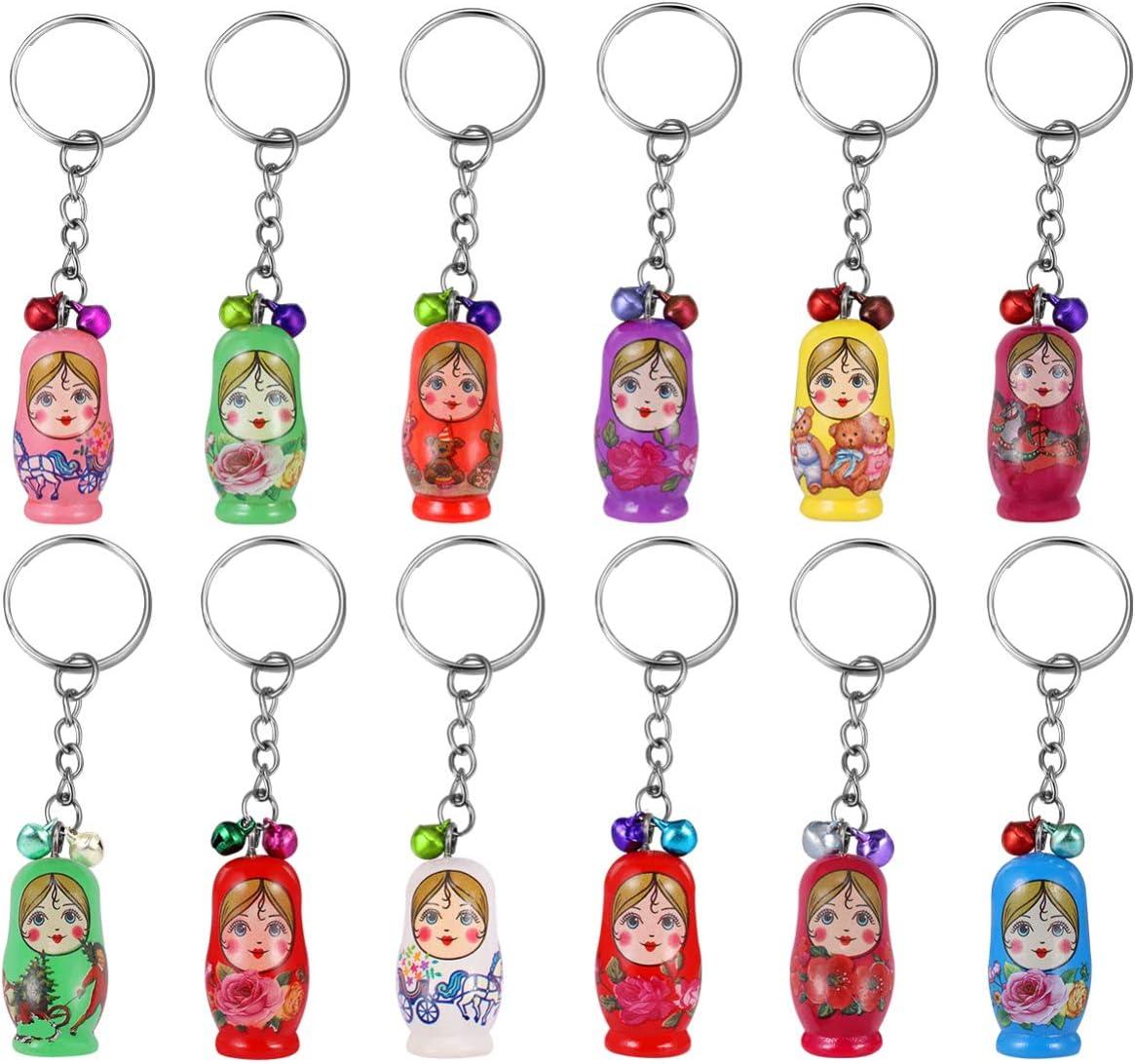 STOBOK Wooden Matryoshka Bombing free shipping Russian Dolls Keychains Max 64% OFF for Rings Key G