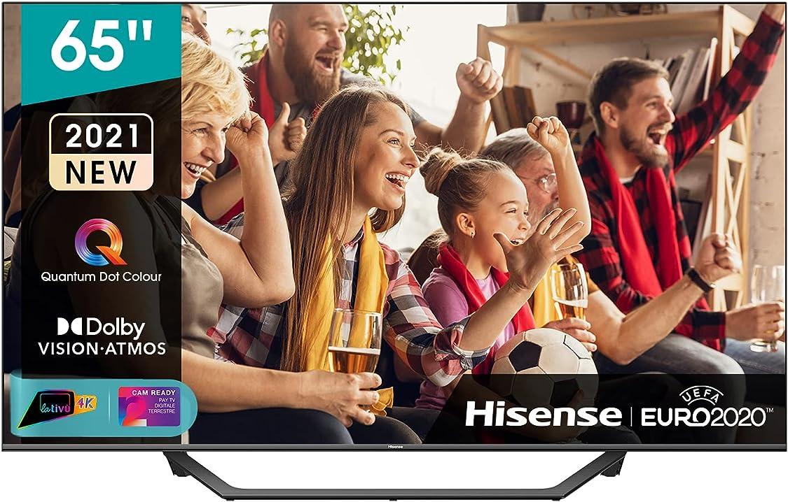 Tv 65 pollici  hisense qled 4k 2021 65a78gq,quantum dot,smart tv vidaa 5.0, hdr dolby vision, ips,dolby atmos