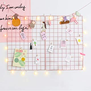 GBYAN Grid Wall Panel (Pack of 2) Decorative Iron Rack Clip, Painted Wire Photograph Grid Wall Hanging Picture Multifunctional Photo Hanging Display Wall Storage Organizer,25.6inch x17.7inch, Pink