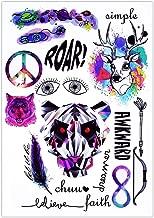 BESTPICKS Large Waterproof Fashion Temporary Tattoo Sticker - SIMPLE, ROAR, DREAMER, AWKWARD, WOLF, BOW, ARROW, FAITH - 14.5 X 21 cm Sheet
