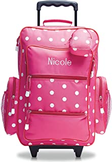 """Personalized Rolling Luggage for Kids – Pink Polka Dot Design, 6"""" x 15.5"""