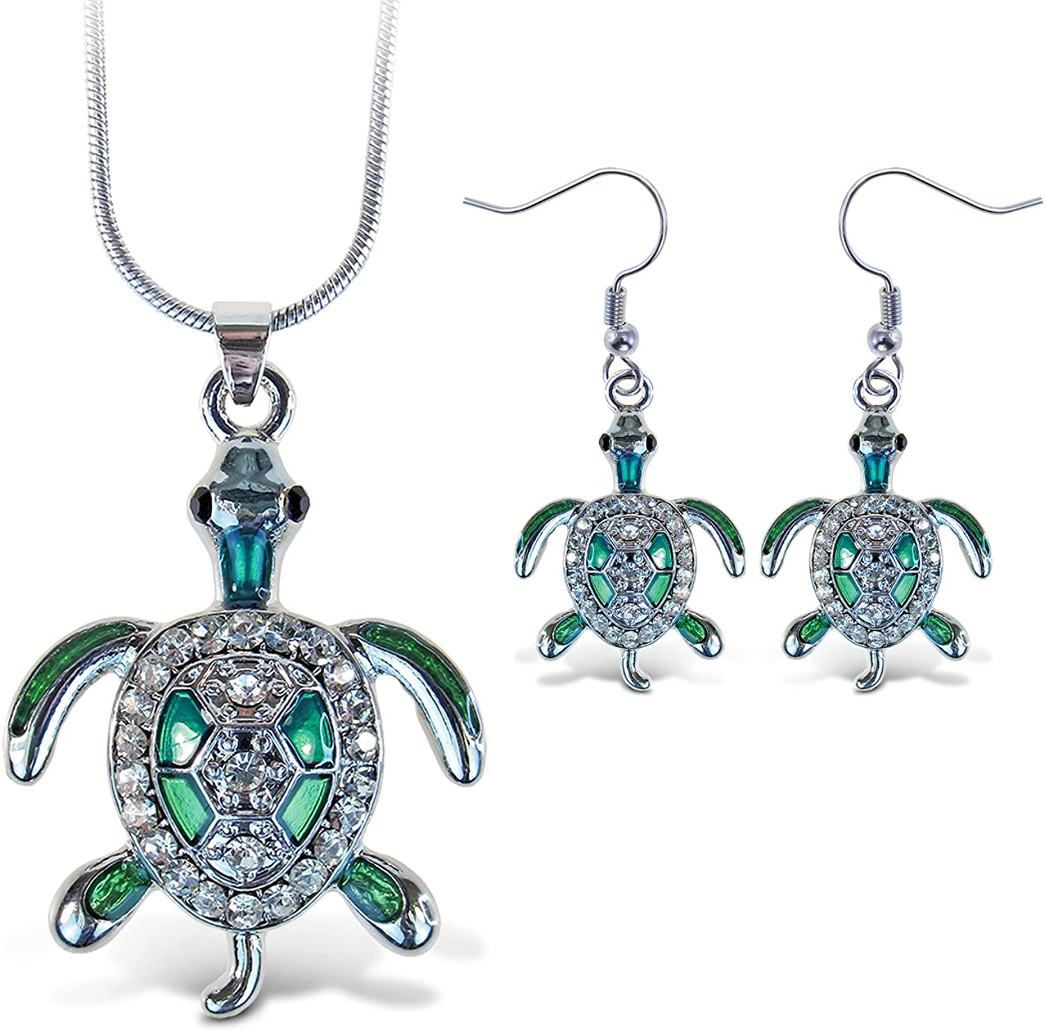 Puzzled Sparkling Sea Turtle Necklace and Earrings Set Charming Necklace and Earring Set - Ocean Sea Life Theme - Aqua Jewelry Always Unique Gift - Item #K6309-6359