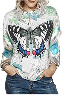 Zimaes Women Floral Spring Plus-size Long-Sleeve Blouse Fall Winter Tees