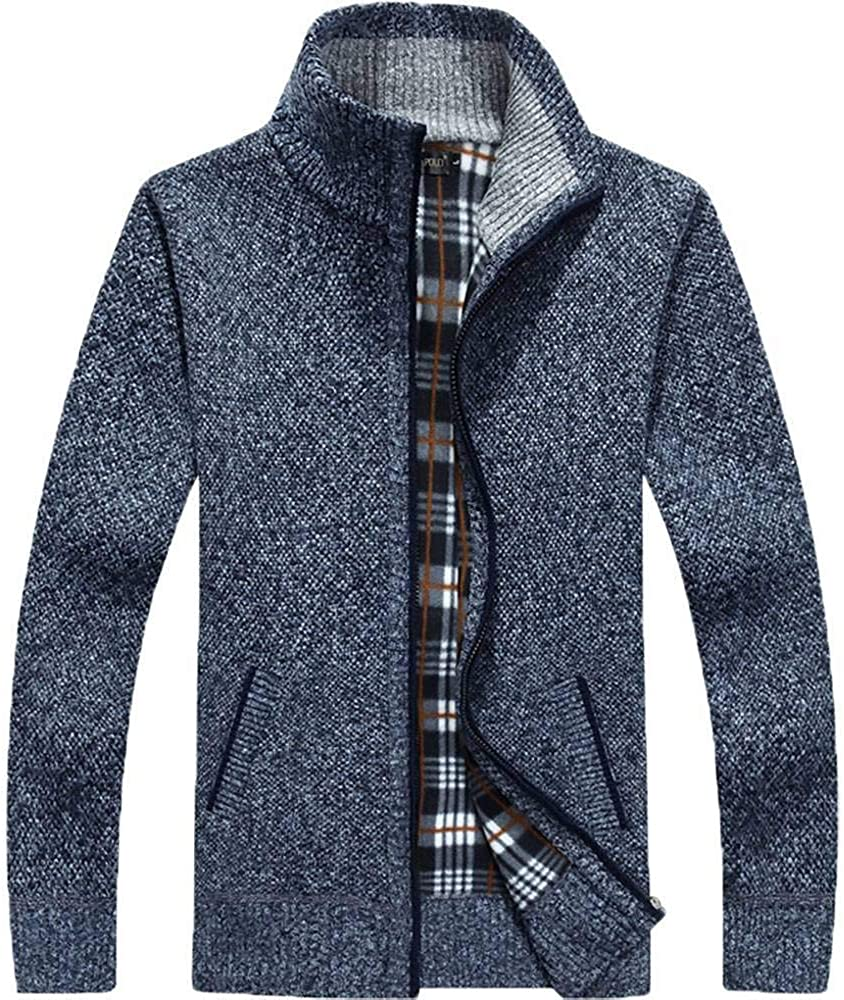 WANCHDP Men's Casual Slim Full Zip Thick Knitted Cardigan Sweaters with Pockets