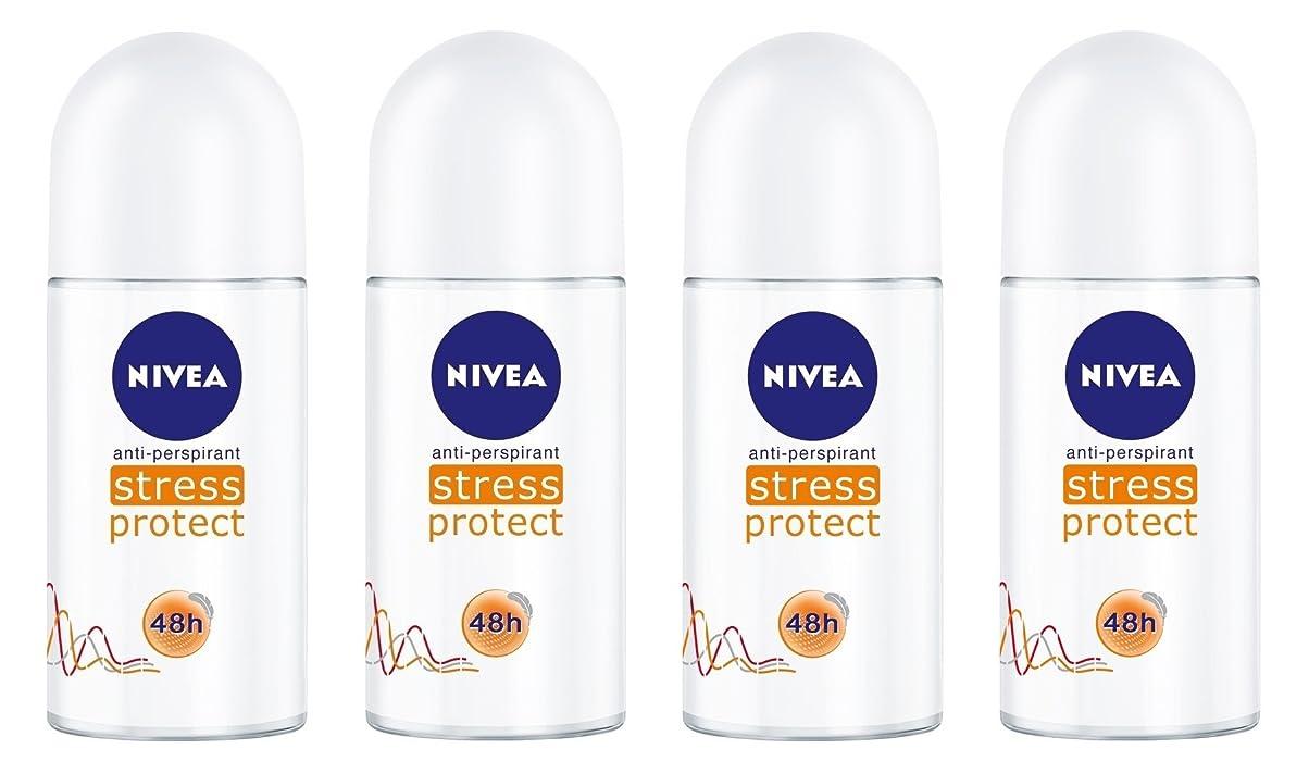登場電子レンジ便利(Pack of 4) Nivea Stress Protect Anti-perspirant Deodorant Roll On for Women 4x50ml - (4パック) ニベア応力プロテクト制汗剤デオドラントロールオン女性のための4x50ml