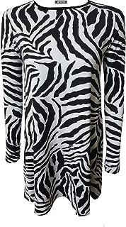 Women Animal Zebra Print A-Line Long Sleeve Flared Skater Plus Size Ladies Swing Dress Top