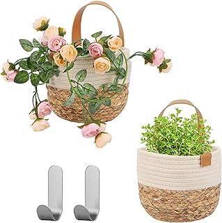 Herefun Panier Suspendu Tissé, 2 Petit Paniers Plante Tissé, Paniers Plante Floral pour Maison Décor, Panier de Rangement ...
