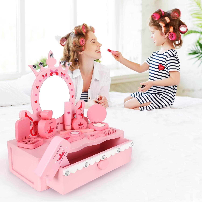 JoinJoy Kinderschminke Set Mädchen Aus Holz Mehrfarbig Schminkkoffer Kinder Kinderschmuck Holzspielzeug Spielzeug Geschenk Kosmetikset Groß