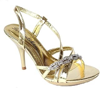 874d3e17f4d De Blossom Collection Lin-21 Ankle Strappy Rhinestone Stiletto high Heel  Dress Sandals