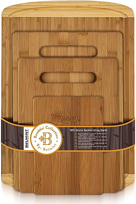 Bambusi Kitchen Cutting Board Set 100 Organic Bamboo Chopping Board With Juice Groove For Cutting Meat Vegetables Set Of 4