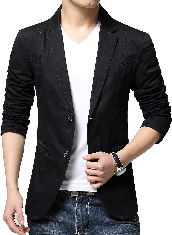 chouyatou Men's Slim Fit Lightweight Cotton Business Casual Blazers Suit Sport Coats