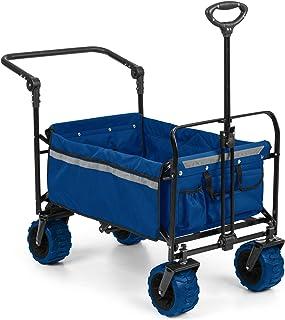 Waldbeck Easy Rider - Carretilla, Carro, Resiste 70 Kg, Funda de poliéster 600D, 2 Cinturones Seguridad niños, Plegable, Manillar telescópico, Azul