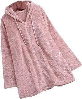 Sodossny-AU Womens Winter Warm Fashion Fluffy Fuzzy Zip up Tunic Hoodie Sweatshirt