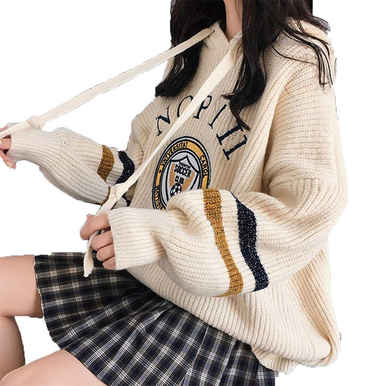 美しいです] フード付き、カジュアルなルーズセーター、プルオーバー女性の厚手コート、秋冬の新しい長袖の学生のセーター