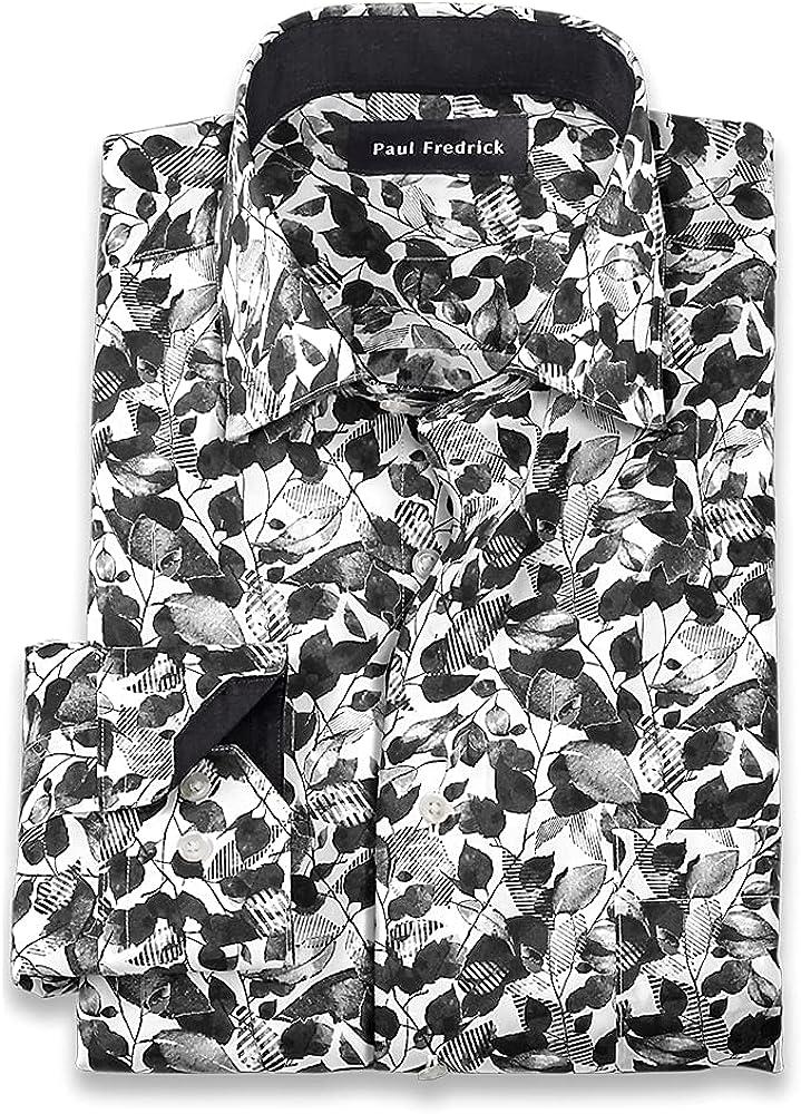 Paul Fredrick Men's Slim Fit Dress Outlet ☆ Free Shipping Floral Luxury goods Non-Iron Print Cotton