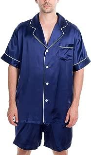 Men's Luxury Silk Sleepwear 100% Silk Short Sleeve Top Boxer Short Pajamas Set