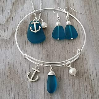 product image for Handmade in Hawaii, teal blue sea glass necklace + earrings + bracelet jewelry set, anchor charm, Freshwater pearl, (Hawaii Gift Wrapped, Customizable Gift Message)