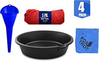 Oil Change Value Kit - Includes Oil Drain Pan, Longneck Oil Funnel, 5 Pack of Shop Towels and 1 Foxtrot Professional Microfiber
