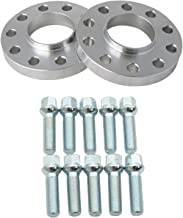 2pcs 15mm 5x112 Wheel Spacers (66.6mm Bore) with 10pcs Silver 14x1.5 Lug Bolts (40mm Shank Length, Ball Radius Seat) for B8 Audi A4 S4 A5 S5 A6 S6 A7 S7 A8 S8 66.56