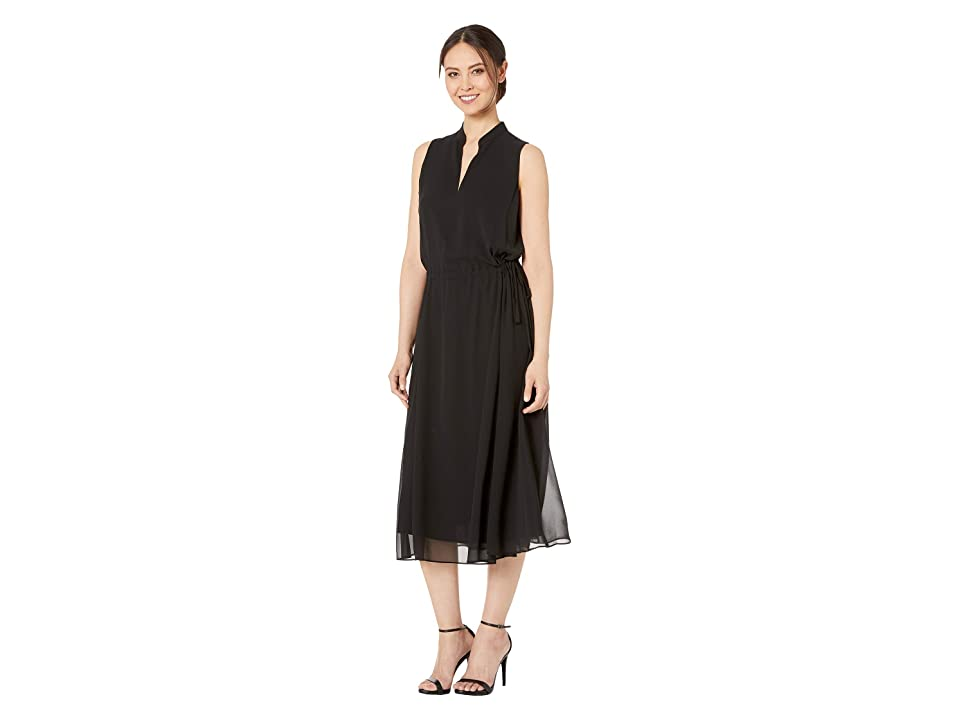 Anne Klein Solid Chiffon Drawstring Midi Dress w/ Lining (Anne Black) Women