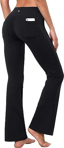 "BUBBLELIME 29""/31""/33""/35"" 3 Styles Women Bootcut Yoga Pants Basic/Back Pocket/Straight Leg Soft Workout Flare Tummy ..."