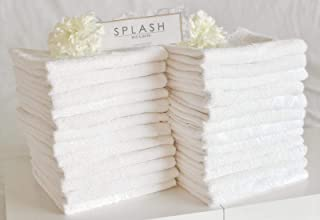 SPLASH 100% Cotton Hand Towels White Gym Towels 20 x 40 Inches (White Hand Towels, Pack of 24)