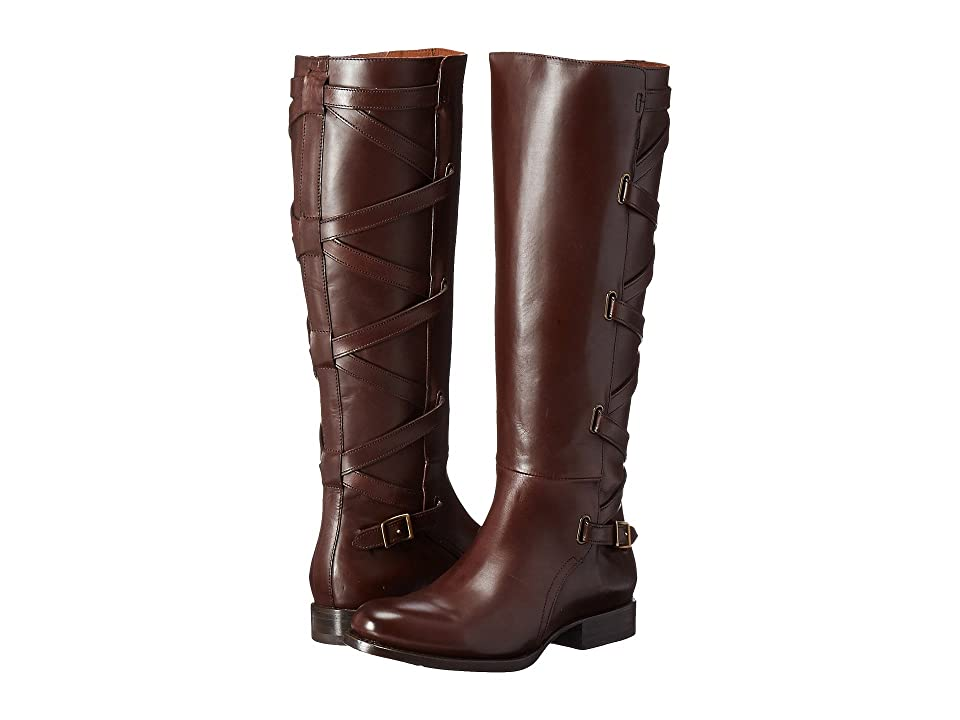 Frye Jordan Strappy Tall (Dark Brown Smooth Veg Calf) Women